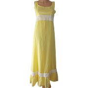 Dotted Swiss Dress Yellow White Dots Long Ankle Length Lace Insert at Waist JC Penney ...