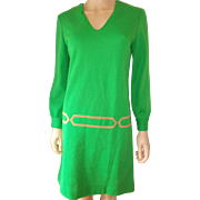 Green Knit Dress Leather Accent Misses Vintage Dress 1960s
