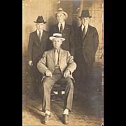 Men in Suits Vintage Photograph Four Men Suits Hats Ties RPPC 1920s post card photograph
