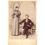 Cabinet Card Studio Photo Regal Woman Serious Man Suit Long Dress Updo Hair Style 1890s ...
