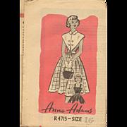 Anne Adams R4715 Stylish Dress Unusual Collar Teens Size 16 Vintage Pattern