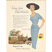 PEPSI Today's Look reflects today's taste Pepsi Cola 1954  Magazine Ad