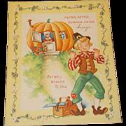 Get Well Card Vintage Unused Peter Peter Pumpkin Eater Brings 1950s