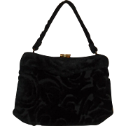 Crown Lewis Chenille Purse Black Fuzzy Classic Gold Tone Clasp Stylish 1950's Flair
