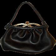Charming Leather Purse Black Intricate Brass Closure Soft Cute Stylish Classy Handbag 1940s