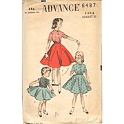 Advance 6487 Vintage Sewing Pattern Girls Dress Shirtwaist Top 1940s pattern