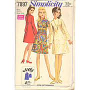 Simplicity 7897 Vintage Sewing Pattern Misses Jiffy dress A Line Set in Sleeves Stand Up ...