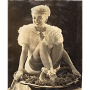 Cheese Cake Shot Vintage Photograph Pin Up Girl Fur Ribbons Smile  Publicity Photo 1946