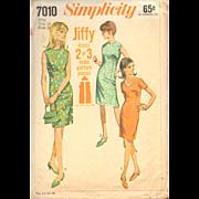 Misses One Piece Dress Slim Collarless Simplicity 7010 Vintage Sewing Pattern