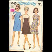 Collarless Dress A Line Seamed Juniors Dress Simplicity 7535 Vintage Pattern 1960s