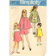 Girls Cape and Dress Simplicity 8719 Vintage Sewing Pattern Childrens Pattern