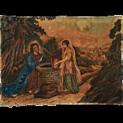 Rebecca at the Well - Early painting on Velvet - Velour