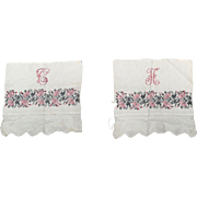 Monogrammed Embroidery and Hand Made Lace with Floral Stripe