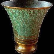 Carl Sorensen Bronze Vase, Verdigris Finish, Craftsman Style, Circa 1920s