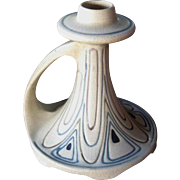 Weller Pottery Candle Holder, Creamware, Antique Chamberstick, Circa 1915, Arts & Crafts Style