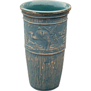 Early Red Wing Brushware Pottery Vase, Craftsman Mission Style, Circa 1920s, Tall Vase