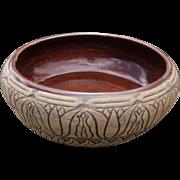 Egyptian Revival Pottery Low Bowl, Art Nouveau Design, Circa 1920s, Western Stoneware Company