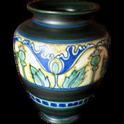 Gouda Pottery Vase, Damascus Design, Arts and Crafts, Art Nouveau Style, Circa 1910s or 1920s