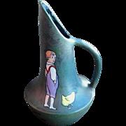 Stellmacher Teplitz Pottery Pitcher Vase, Vintage Art Pottery, Boy with Chicken, Vintage 1910s