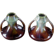 Vintage Pottery Candle Holders from Belgium, Arts and Crafts Style, Small Pair Vases, Circa ..