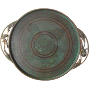 Carl Sorensen Large Bronze Tray, Platter, Charger, Verdigris Finish, Arts and Crafts, Vintage
