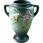 Roseville Pottery Freesia Vase, Matte Blue, 8 Inches, Circa 1940s