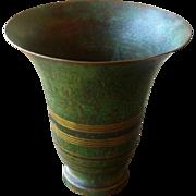 Bronze Vase by Carl Sorensen, Arts and Crafts, Craftsman Style, Verdigris Finish, Vintage ...