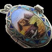 Enamel & 800 grade silver opening Moses baby basket charm vintage art deco c1920 egyptian ...