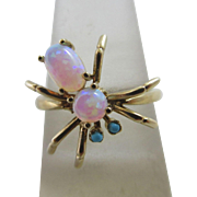 Antique Edwardian 15 Karat Gold Fiery Opal & Turquoise Spider Ring Size 7.25