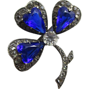 Antique Edwardian Sterling Silver Sapphire & Diamond Rhinestone Shamrock Brooch Pin