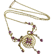 Pink tourmaline seed pearl 15k gold pendant necklace Antique Victorian