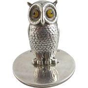 Sampson Mordan sterling silver owl bird menu holder Antique 1906 Chester Edwardian
