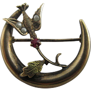 Seed pearl ruby paste 9k gold swallow bird crescent moon brooch Antique Victorian c1890