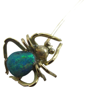 Opal body 14k yellow gold spider stick pin brooch Antique Edwardian c1910
