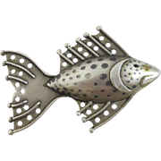 Sterling silver sea fish brooch pin Vintage 1999 Sheffield