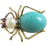Turquoise pearl & ruby eye 14k gold spider brooch pin Vintage Art Deco c1920