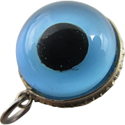 All seeing glass eye in sterling silver pendant charm Vintage Art Deco c1920