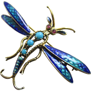 Turquoise enamel in 14k gold dragonfly brooch pin Vintage Art Deco c1920
