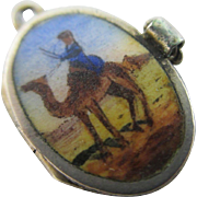 Enamel 800 silver moses baby basket charm Vintage Art Deco Egyptian revival c1920