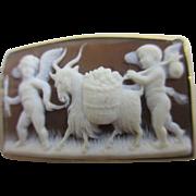 Real shell 18k gold cameo cherubs leading a goat brooch pin antique Georgian Grand Tour ...