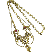Seed pearl ruby rhinestone paste 15k gold cased heart dangling pendant necklace antique ...