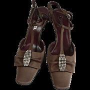 Vintage Chanel Crystal Brown Silk Slingback Heels Size 39