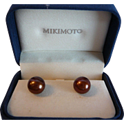 Vintage 1980s Mikimoto Bronze 12 MM Cultured Pearl Earrings
