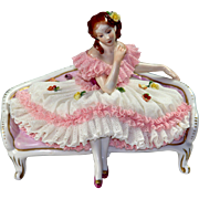Dresden Lace Porcelain Figure - Lady on a Couch