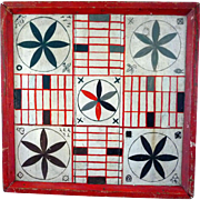 Folk Art Hand Painted Late 19th Century - Gameboard Game Board Lunenburg County Nova Scotia