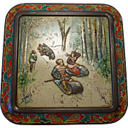 Rare Huntley Palmer Biscuit Cookie Tin Coloured Lithograph North American Sporting Scenes