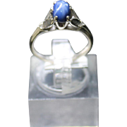 REDUCED Vintage 1950's Ladies 14K W/G Star Sapphire Ring