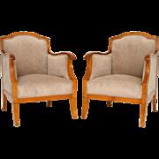 Pair of Swedish Satin Birch Upholstered Armchairs