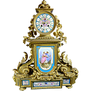 Antique Mantle Clock – Gold Gilded Bronze and Ormolu – Sevres Style Porcelain Plaques †.