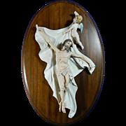 Vintage Hand Painted Capodimonte Style Porcelain Plaque – The Resurrection of Christ – ...